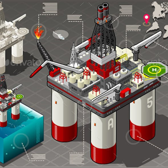Isometric Infographic Rig Energy Set