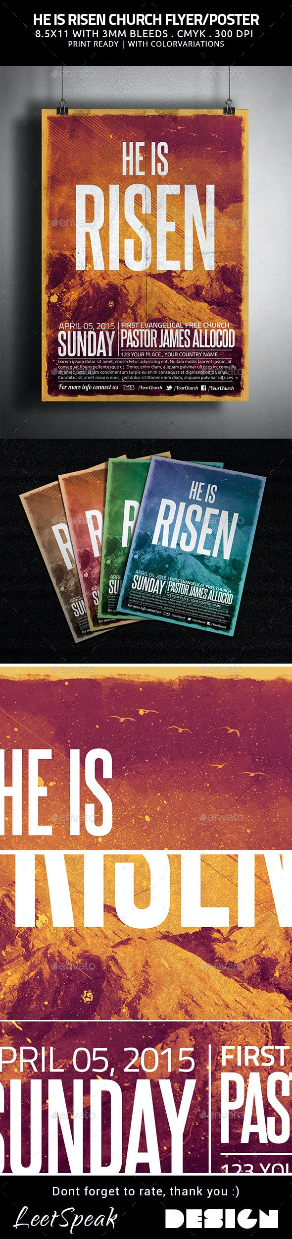 He is Risen Church Flyer/Poster - Church Flyers