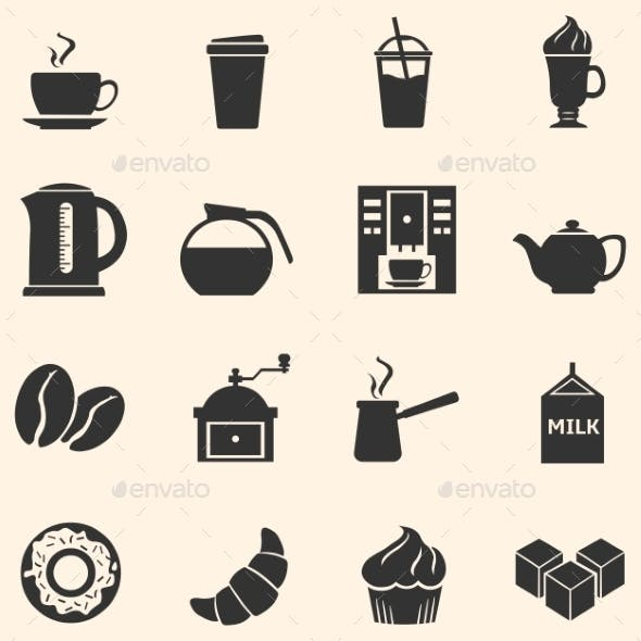 Vector Set of Coffee Icons. Icons for Coffee Shop.