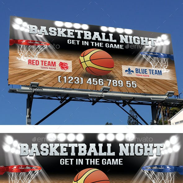 Basketball Night Outdoor Banner 42