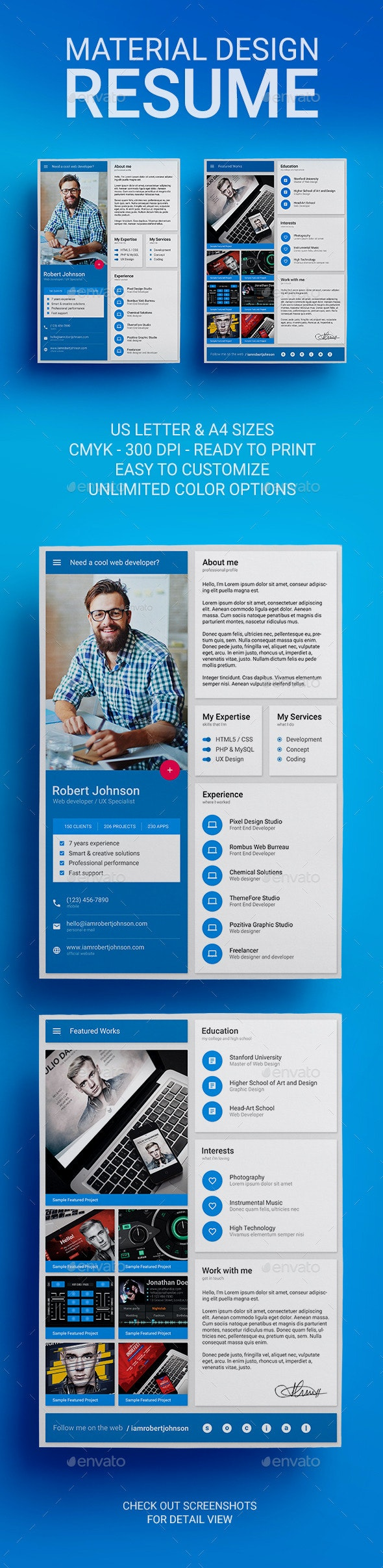 MaDe - Material Design Resume / CV Template - Resumes Stationery