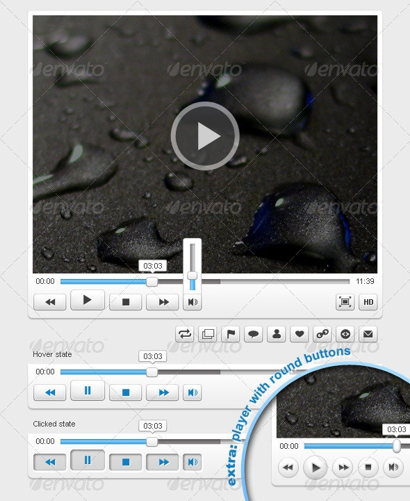 Clean Video Player - User Interfaces Web Elements