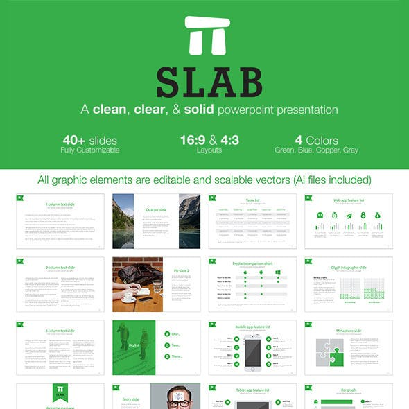 Slab - A clean, clear, & solid powerpoint template