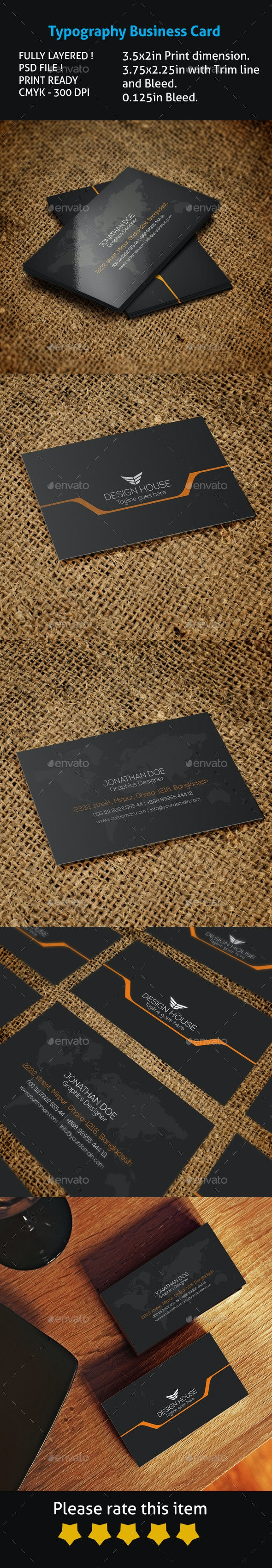 Typography Business Card - Creative Business Cards