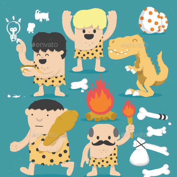 Illustration Cartoon Caveman Set