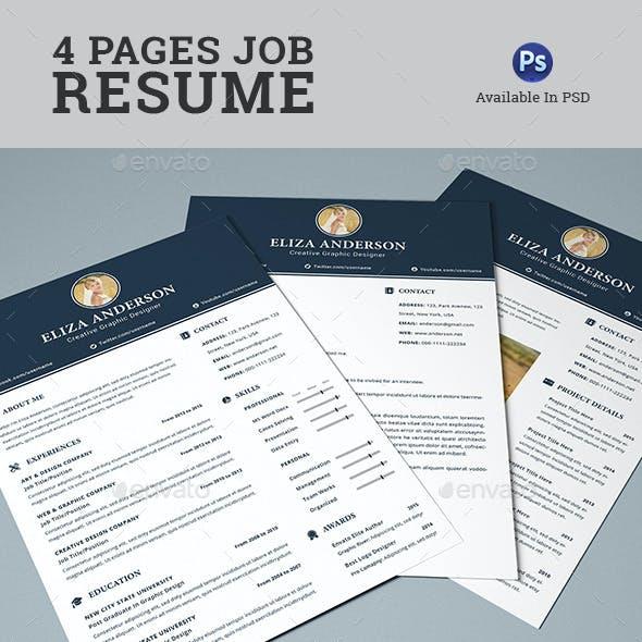 4 Pages Job Resume/CV Set