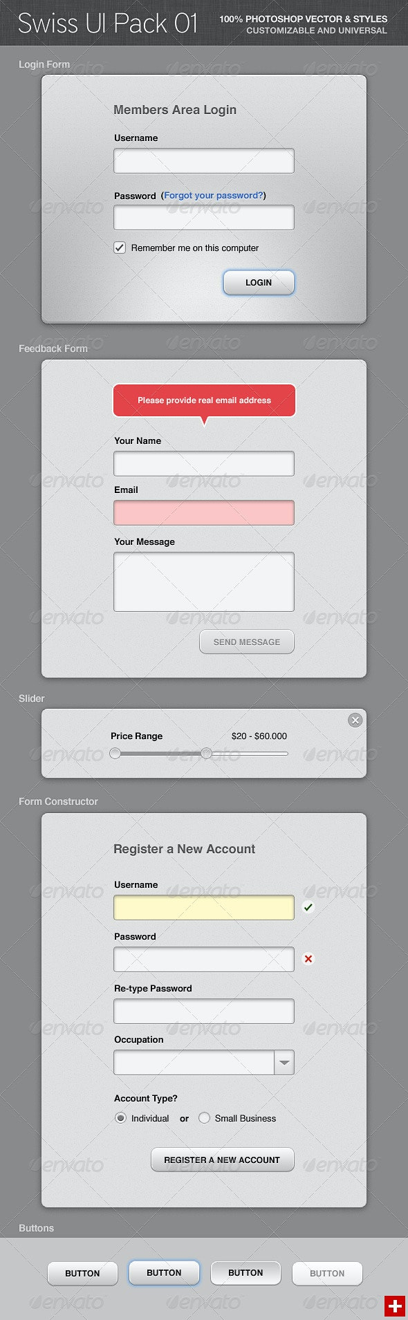 Swiss UI Pack 01 - Forms Web Elements