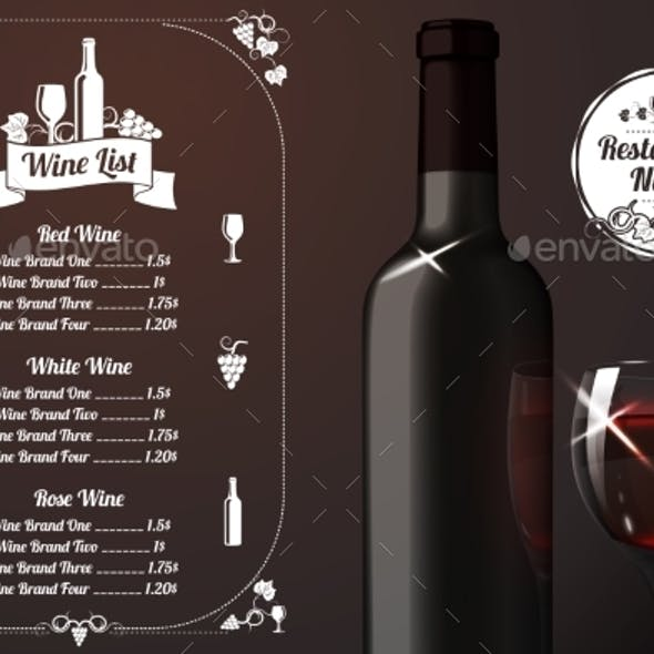 Menu Template with Alcohol