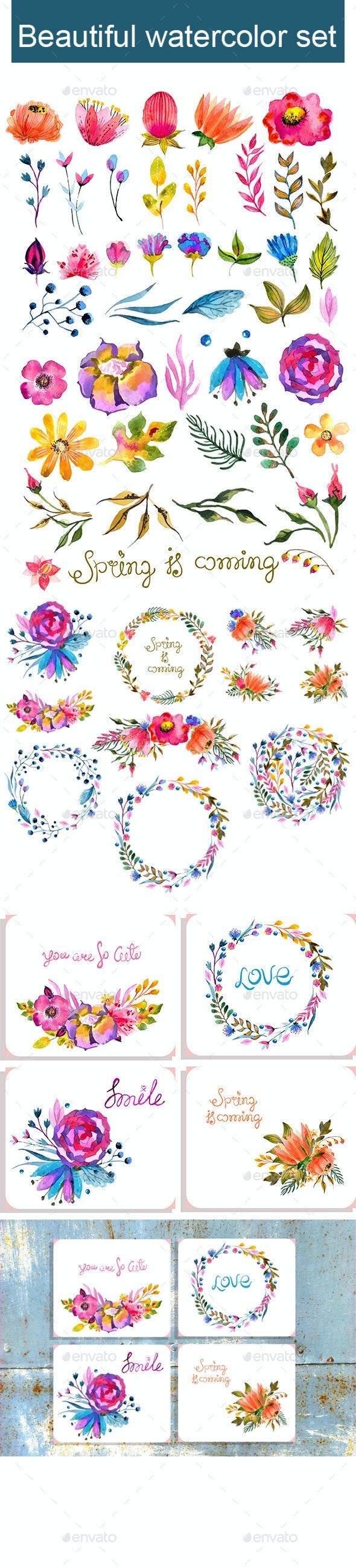 Big Watercolor Floral Collection - Flowers & Plants Nature