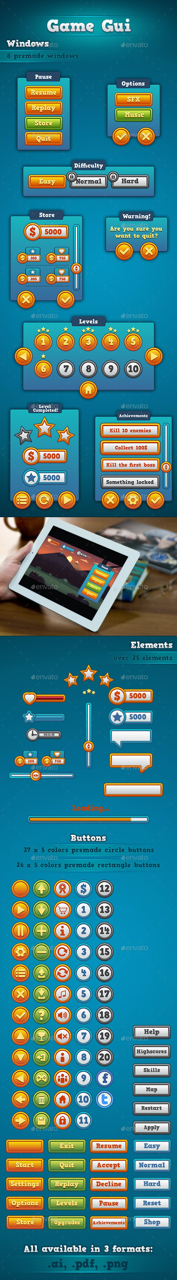 Game GUI - User Interfaces Game Assets
