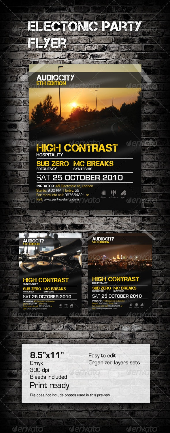 Electronic Party Flyer / Poster - Clubs & Parties Events