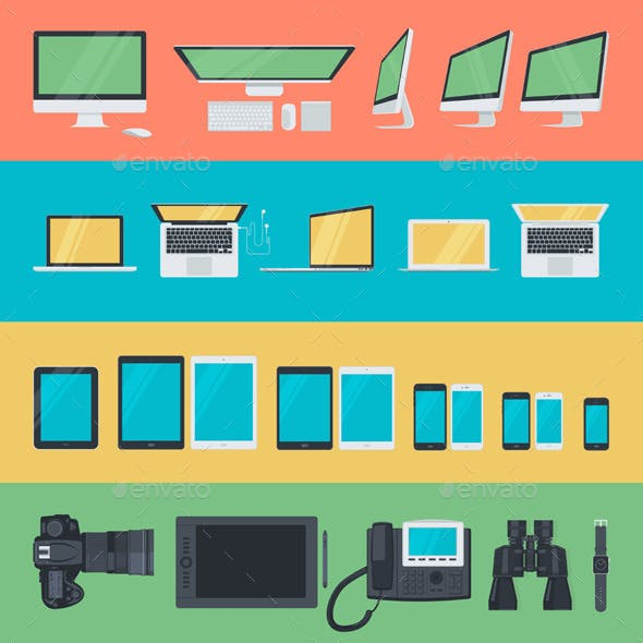 Flat Design Electronic Devices Icons