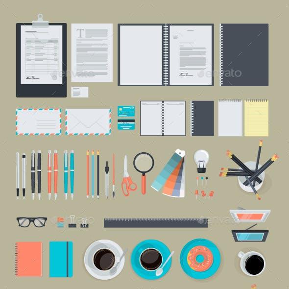 Set of Flat Design Business Items
