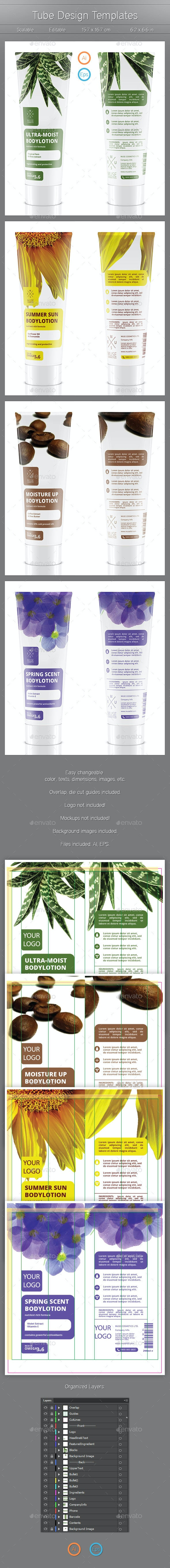 Tube Design Templates - Packaging Print Templates