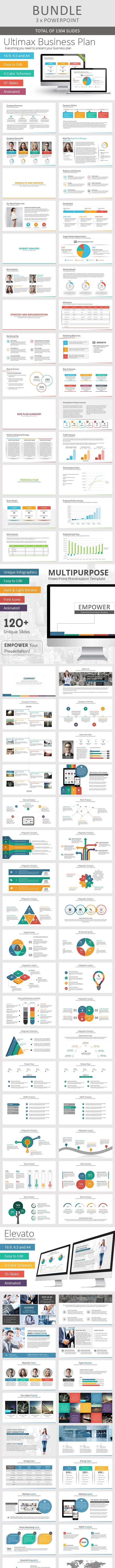 3 x Multi-Purpose PowerPoint Bundle - Business PowerPoint Templates