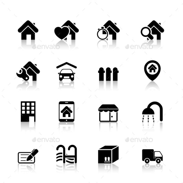 Real Estate Icons with Reflection - Technology Icons