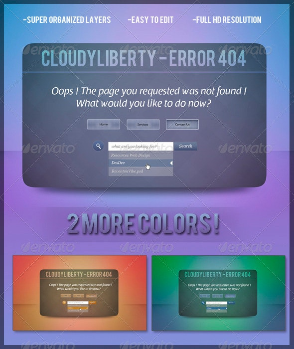 CloudyLiberty 404 error page - 404 Pages Web Elements