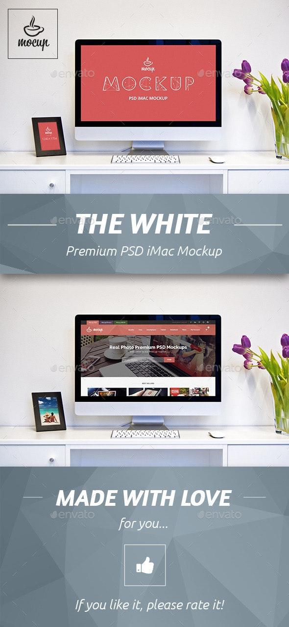 The White iMac Mockup - Monitors Displays