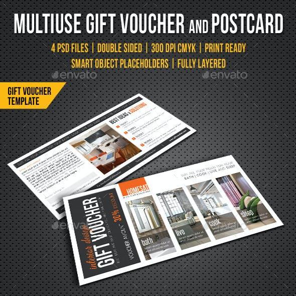 Multiuse Gift Voucher and Postcard V03