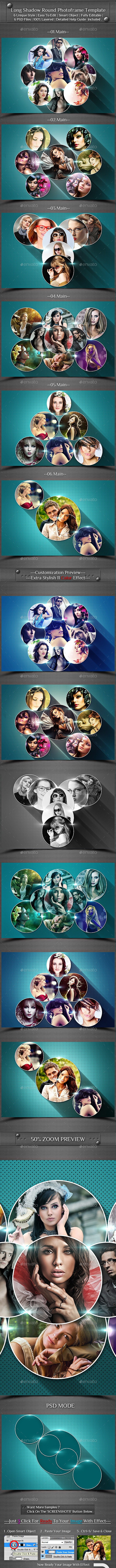 Long Shadow Round Photo Frame Template - Photo Templates Graphics