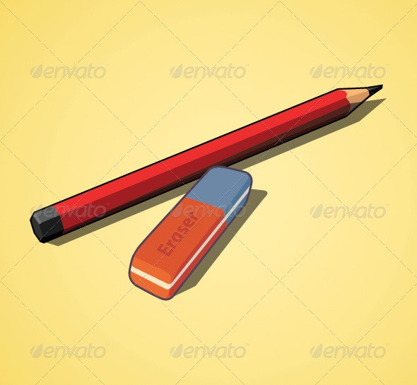 Pencil and eraser - Man-made Objects Objects