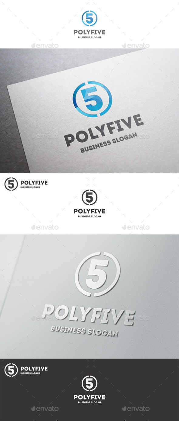 Five Logo Polygonal Number