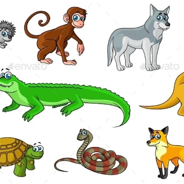 Cartoon Forest and Jungle Wild Animals