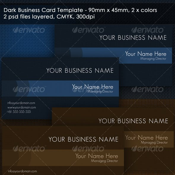 Dark 2 Color single or double sided business card