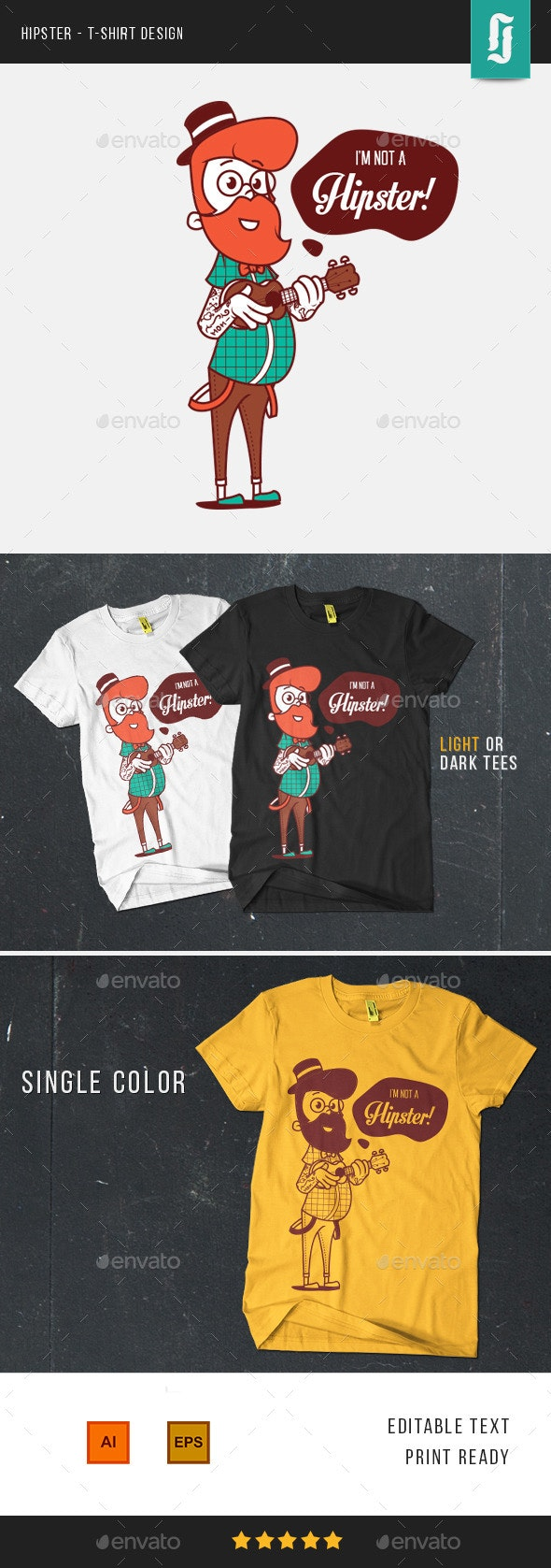 Hipster T-shirt Design - Funny Designs