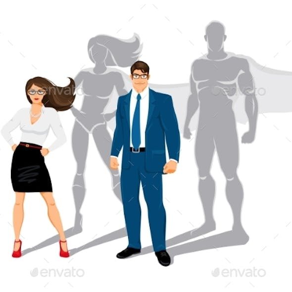 Businessman and Business Woman Superheroes
