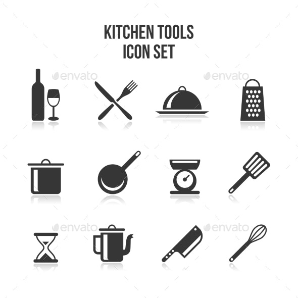 Kitchen and Cooking Icons Set - Web Elements Vectors