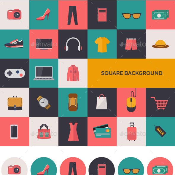 Fashion and Shopping Flat Icons