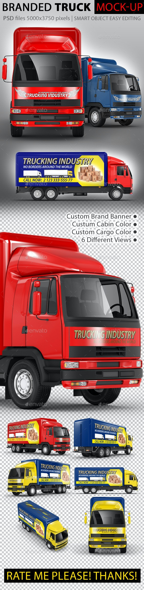 Commercial Truck Carrier Mock-Up - Vehicle Wraps Print