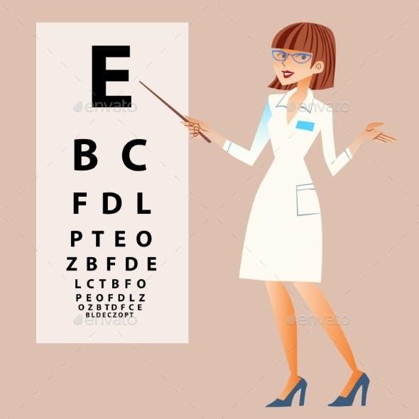 Ophthalmologist Examines Eyes