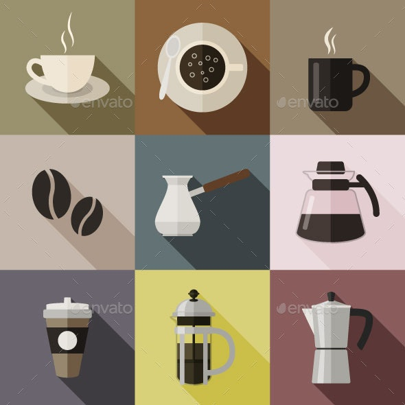 Flat Coffee Icons - Food Objects
