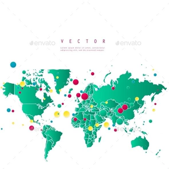 Vector Abstract Telecommunication Earth Map. - Web Technology