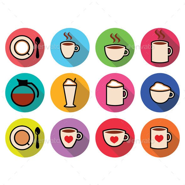 Coffee Icons Set in Color