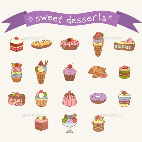 Different Sweets Icons Set