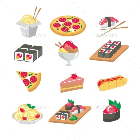 Various Food Icons Set - Fruit, Vegetables, Meat,