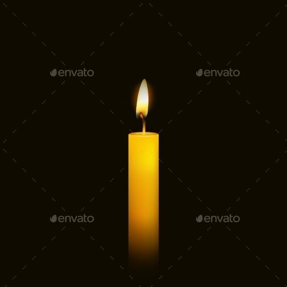 Burning Candle over Black