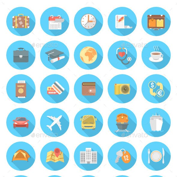 Modern Flat Traveling Icons