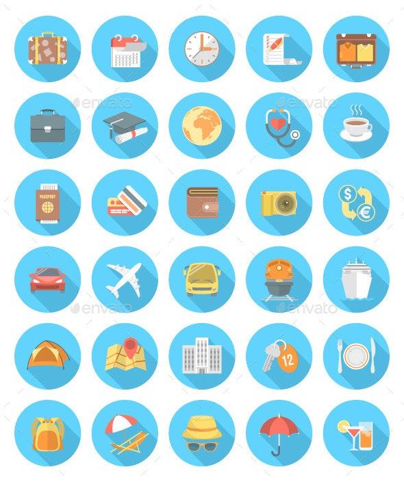 Modern Flat Traveling Icons