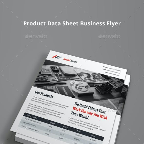 Product Data Sheet Flyer With Pricing Table