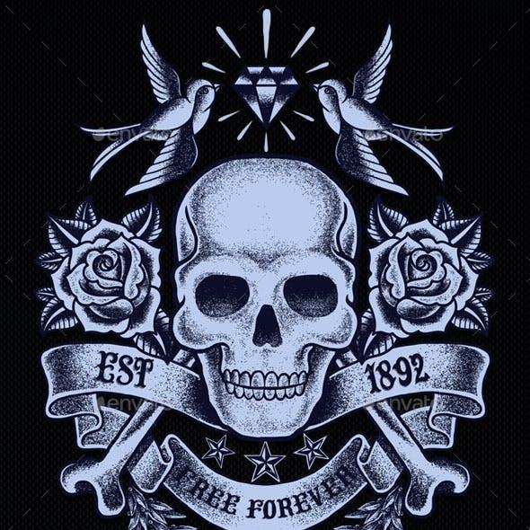 Old Skull T-shirt Template