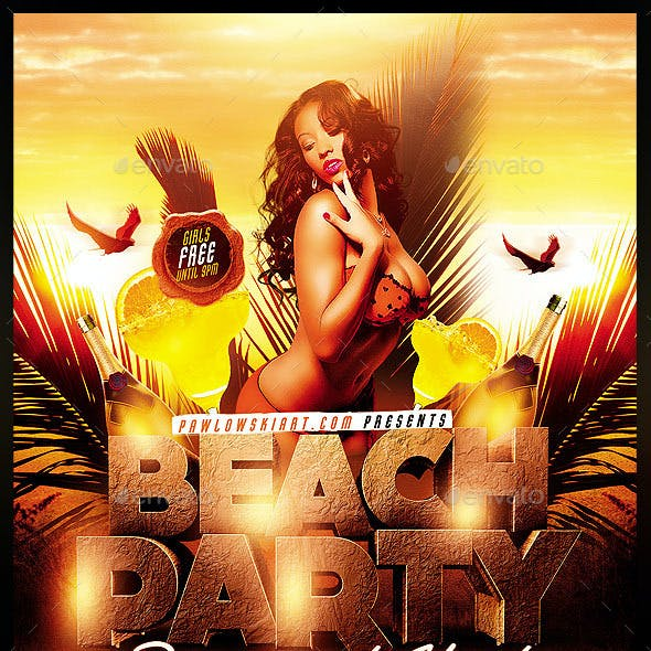 Beach Party/Spring Break Flyer Template