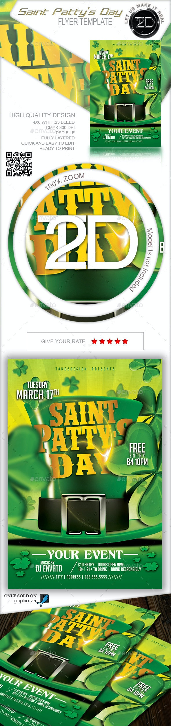 Saint Patty's Day Flyer Template - Clubs & Parties Events
