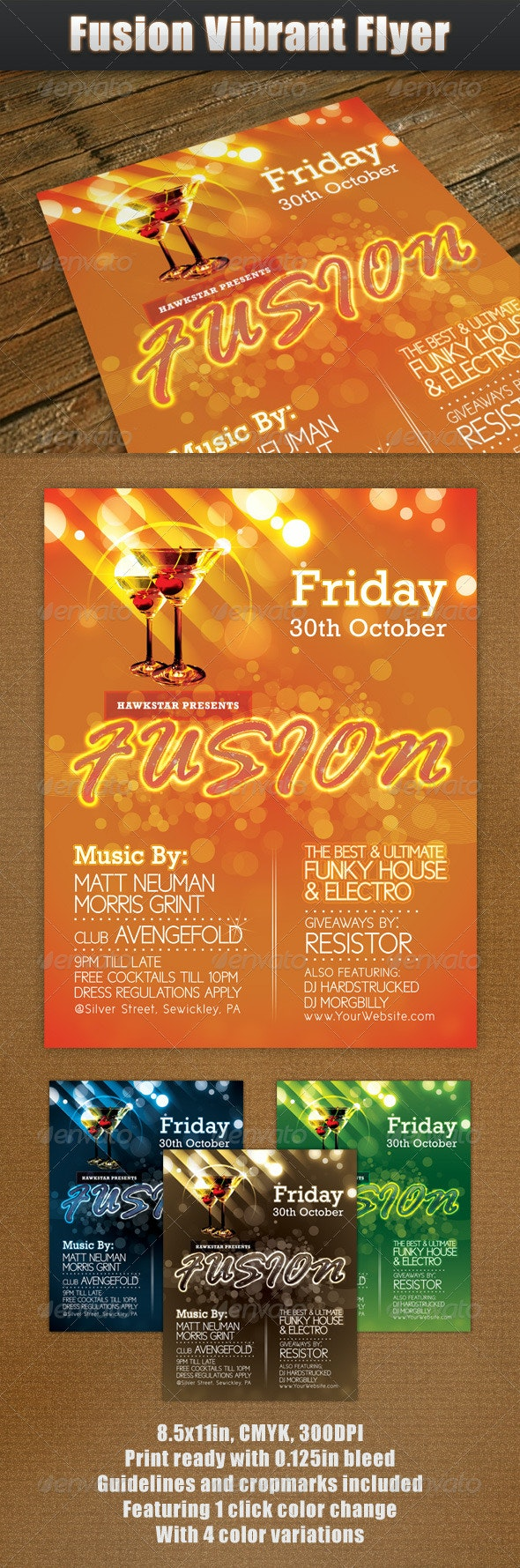 Fusion Vibrant Flyer - Clubs & Parties Events