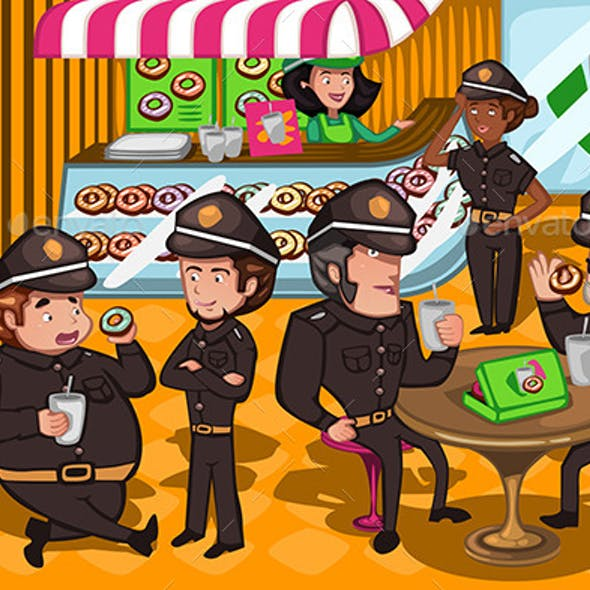 Police Officers in a Donuts Store