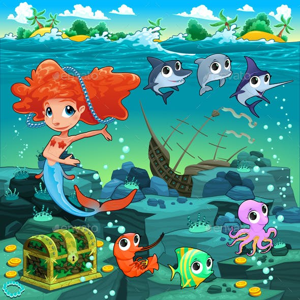Mermaid with Sea Animals