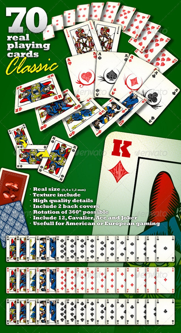 70 Real Playing Cards - Sprites Game Assets